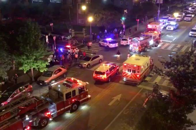 Rescue vehicles are seen following a shooting in Washington