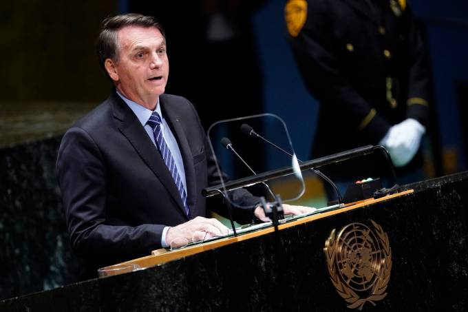 Brazil's President Jair Bolsonaro addresses the 74th session of the United Nations General Assembly at U.N. headquarters in New York City, New York, U.S.