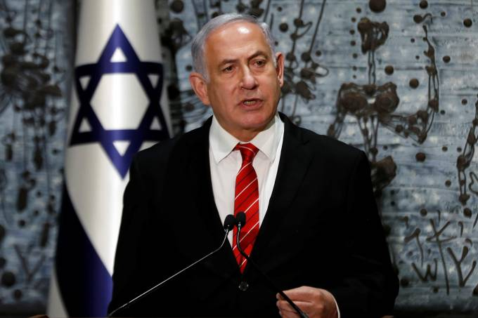 Israeli Prime Minister Benjamin Netanyahu speaks during a nomination ceremony at the President's residency in Jerusalem