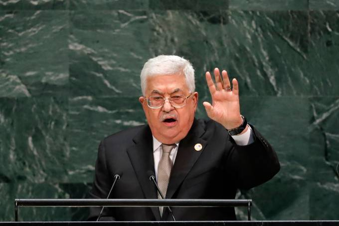 Palestinian President Mahmoud Abbas addresses the 74th session of the United Nations General Assembly at U.N. headquarters in New York City, New York, U.S.