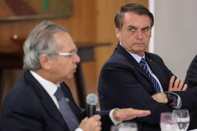 O ministro da Economia, Paulo Guedes, e o presidente Jair Bolsonaro