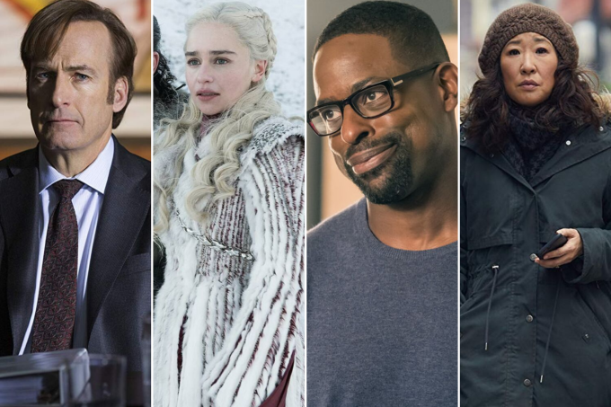 Os personagens Jimmy McGill (Bob Odenkirk), de 'Better Call Saul'; Daenerys Targaryen (Emilia Clarke), de 'Game of Thrones'; Randall Pearson (Sterling K. Brown), de 'This Is Us'; e Eve Polastri (Sandra Oh), de 'Killing Eve'