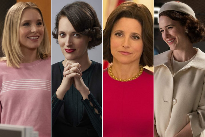 As personagens Eleanor Shellstrop (Kristen Bell), de 'The Good Place'; Fleabag (Phoebe Waller-Bridge), de 'Fleabag'; Selina Meyer (Julia Louis-Dreyfus), de 'Veep'; e  Miriam Maisel  (Rachel Brosnahan), de 'The Marvelous Mrs. Maisel'