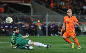 O holandês Arjen Robben em jogo contra a Espanha, pela final Copa do Mundo de 2010, na África do Sul -