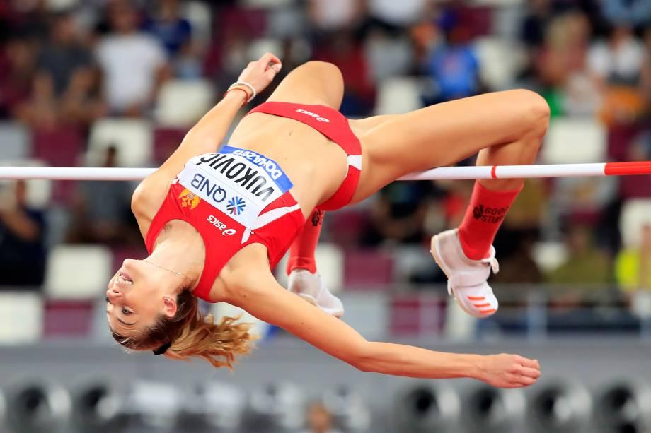 Marija Vukovic, de Montenegro, durante a qualificação de Salto em Altura Feminino no Campeonato Mundial de Atletismo, em Doha, No Catar