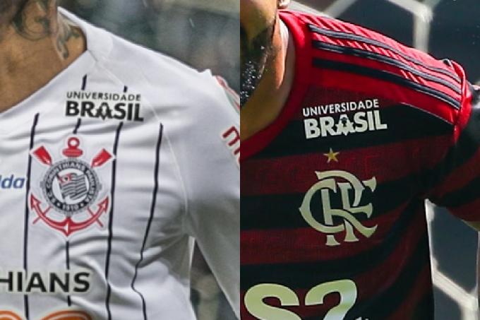 Detalhe das camisas de Corinthians e Flamengo com logo da Universidade Brasil