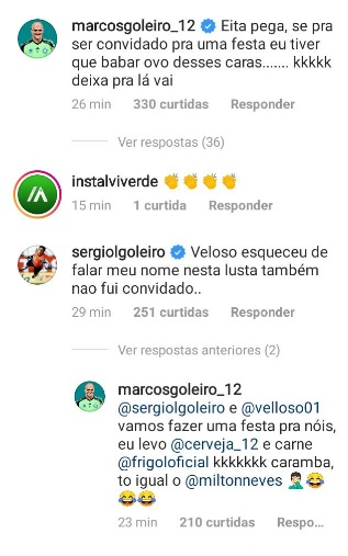 Marcos comentou a postagem de Velloso e sugeriu churrasco dos ídolos