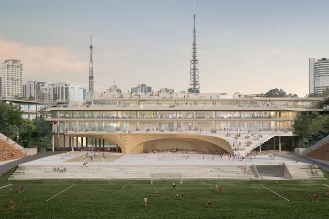 O projeto da arquiteta Sol Camacho prevê a retirada do tobogã (Sol Camacho/Escritório Raddar/Veja SP)