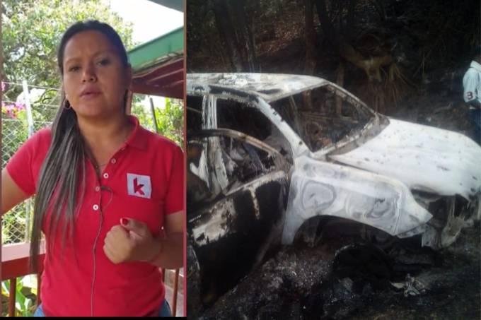Carro queimado de candidata a prefeitura na Colômbia