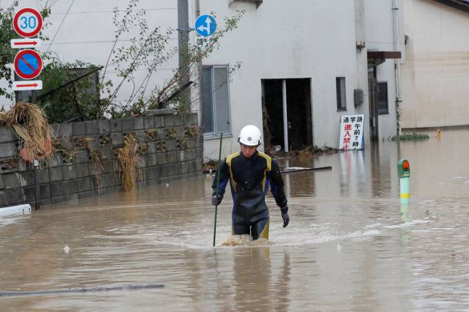 Aftermath of Typhoon Hagibis in Nagano Prefecture