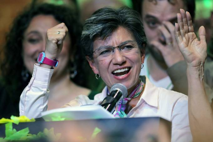 Claudia Lopez, mayoral candidate for Bogota, speaks after winning local elections in Bogota