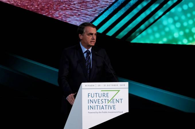 Presidente Jair Bolsonaro discursa em Riad