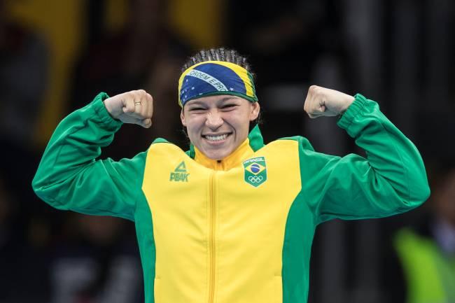 A brasileira Beatriz Ferreira durante a luta contra a argentina Erika Sanchez. A brasileira conquistou a medalha de ouro na competição