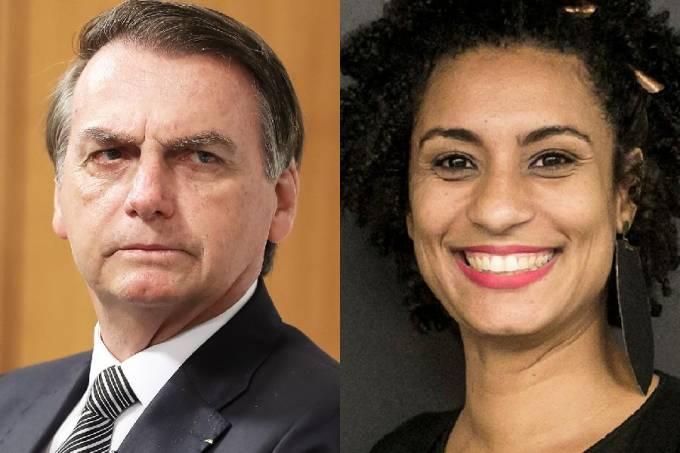 O presidente Jair Bolsonaro e a vereadora Marielle Franco