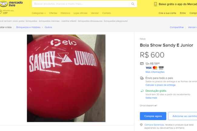 Bola de show de Sandy e Junior está sendo vendida por R$ 600,00