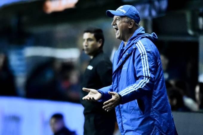 Felipão em ação pelo Palmeiras na Bombonera, na semifinal da Libertadores de 2018