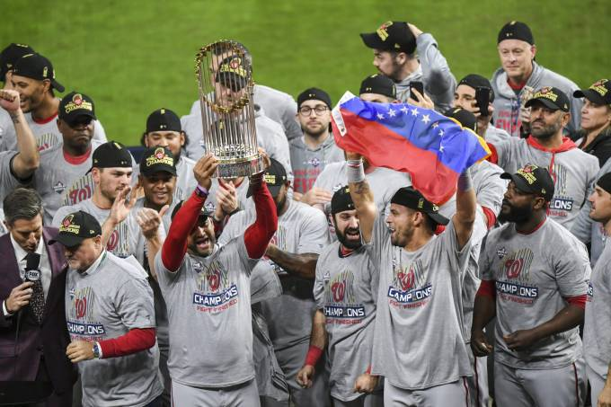 Washington Nationals celebra o título da MLB no Minute Maid Park