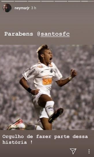Neymar parabeniza Santos nas redes