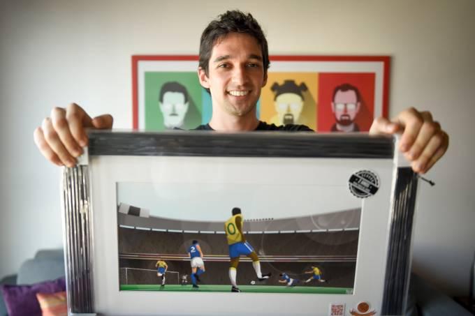 Pedro Nuin, criador de quadros com momentos marcantes do futebol