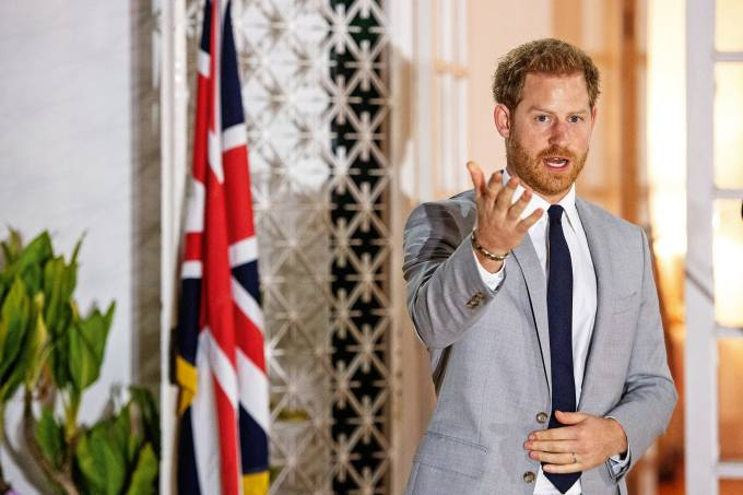 Britain's Prince Harry speaks at British Ambassadors Residence in Luanda