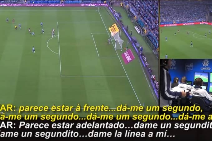 Imagens divulgadas pela Conembol do gol anulado de Gabigol