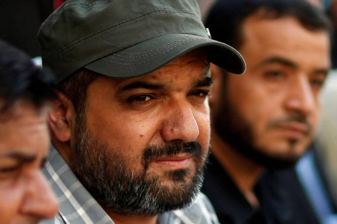 FILE PHOTO: Palestinian Islamic Jihad commander Baha Abu Al-Ata attends an anti-Israel military show at Al-Shati refugee camp in Gaza City