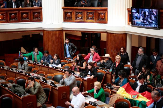 Opposition lawmakers are seen at the Bolivian Congress after the session was suspended due to lack of quorum, in La Paz