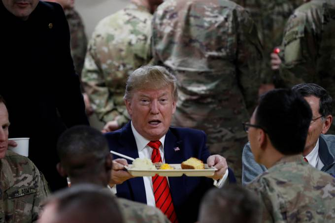 U.S. President Donald Trump makes an unannounced visit to U.S. troops at Bagram Air Base in Afghanistan