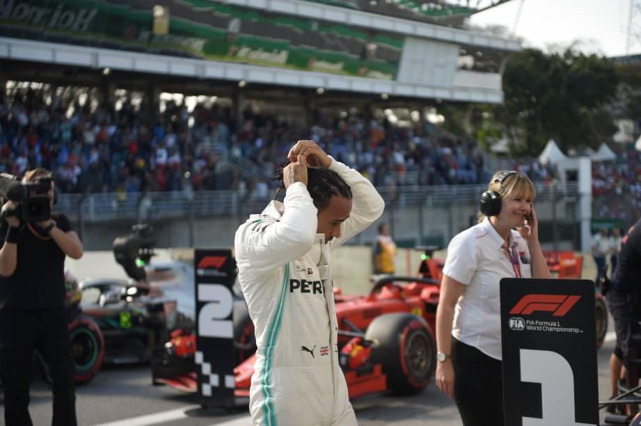 Lewis Hamilton durante treino classificatório para o GP Brasil de Fórmula 1, no Autódromo de Interlagos