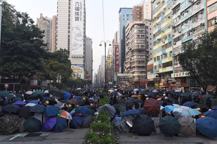 Vista da área de Yau Ma Tei no distrito de Kowloon, enquanto os protestos contra o governo continuam em Hong Kong
