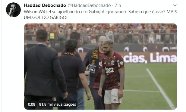 """Perfil """"Haddad Debochado"""" comenta cena entre Gabigol e Witzel (24/11/2019)"""
