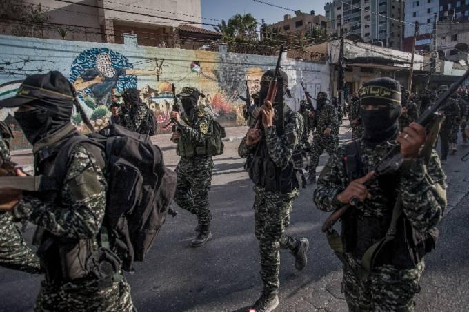 Militantes de Jihad Islâmica marcham em Gaza
