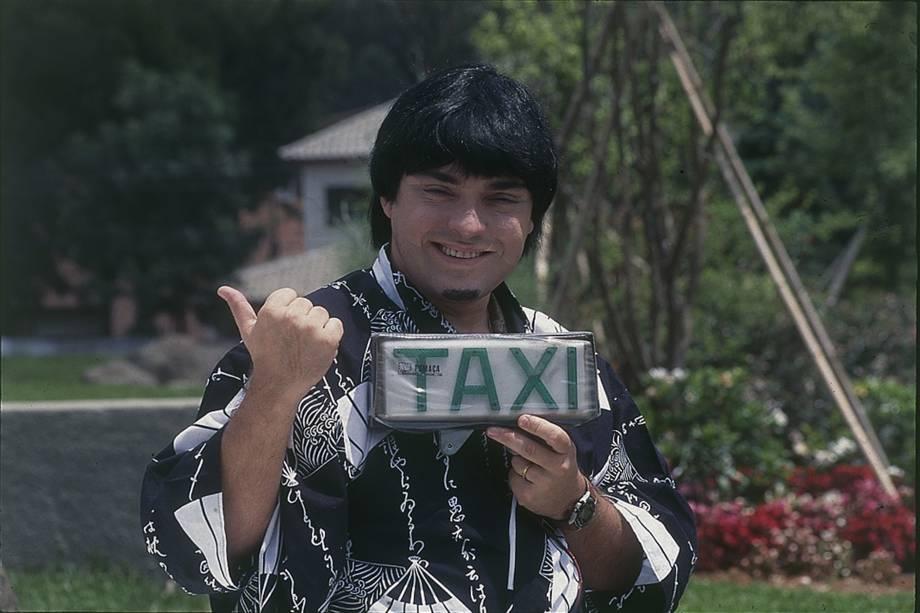 """Gugu durante gravação do quadro """"Táxi do Gugu"""""""