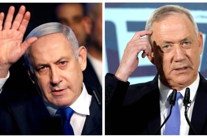 Primeiro-ministro de Israel, Benjamin Netnyahu, e líder do partido Azul e Branco, Benny Gantz