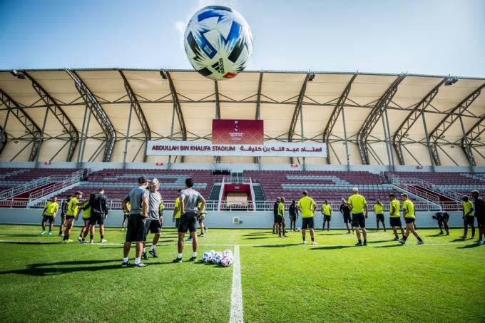 Flamengo realiza o último treino antes da estreia no Mundial de Clubes, diante do Al Hilal, da Arábia Saudita, no estádio Abdullah Bin Khalifa, no Catar