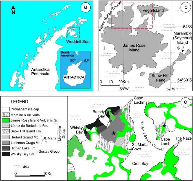Mapa com as localizações na Antártica