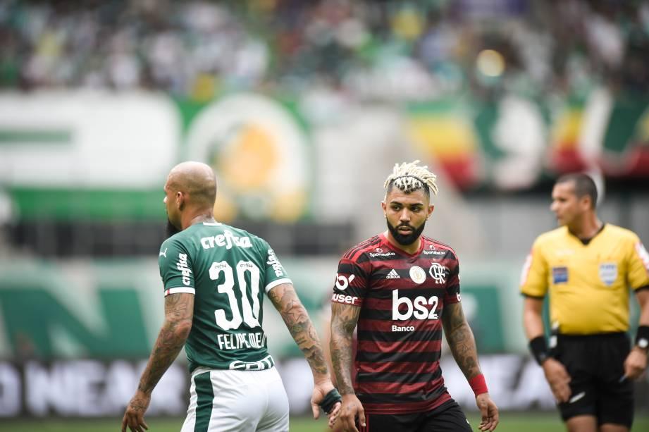 Felipe Melo e Gabigol durante Palmeiras x Flamengo pelo Brasileirão 2019, no Allianz Parque