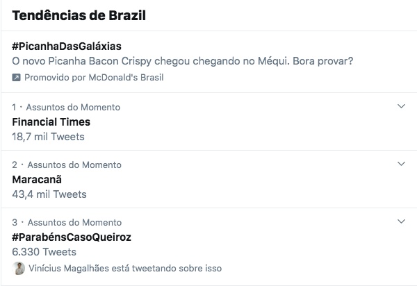 Post patrocinado com hashtag #PicanhaDasGaláxias