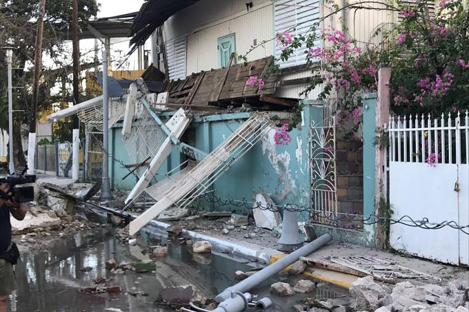 A home is seen damaged after an earthquake in Guanica
