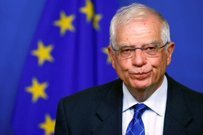 EU foreign policy chief Borrell holds a news conference in Brussels