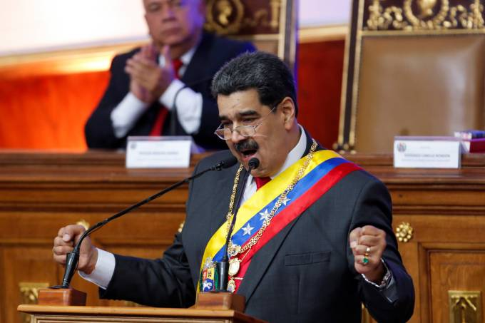 Venezuela's President Nicolas Maduro delivers his annual state of the nation speech during a special session of the National Constituent Assembly, in Caracas