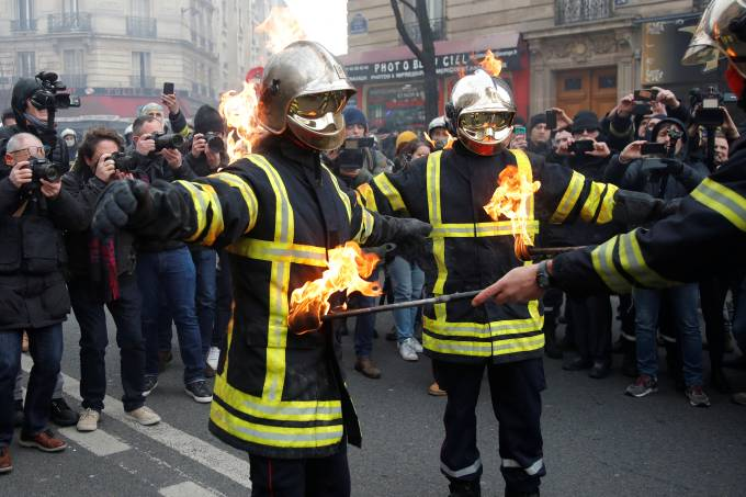 French firefighters demonstrate during a national protest in Paris