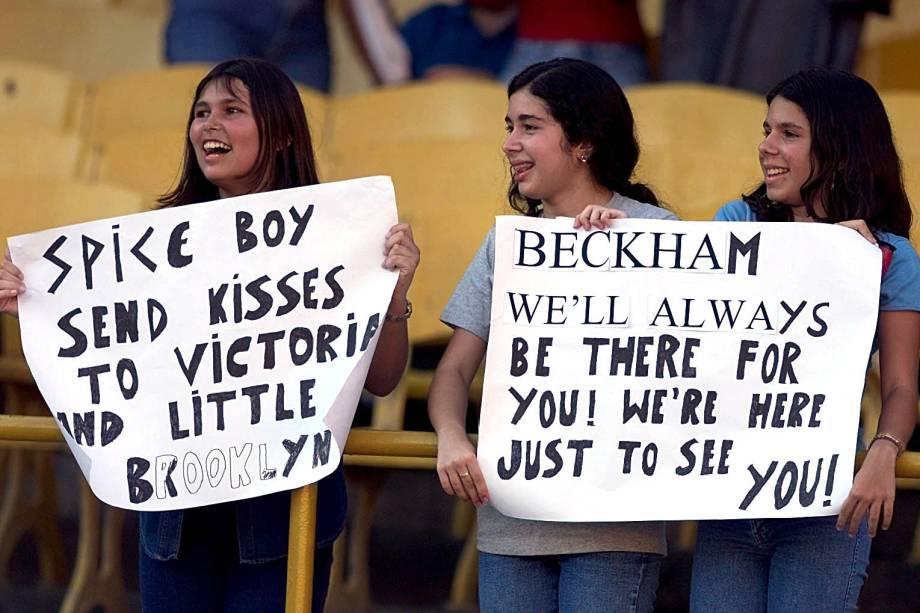 As fãs mirins do astro David Beckham se fizeram presente nos jogos do Manchester United