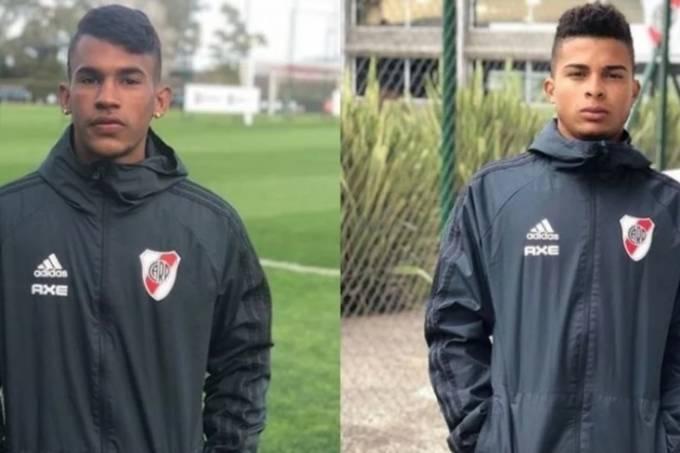 Edinho e Hyago, já com os uniformes do River Plate