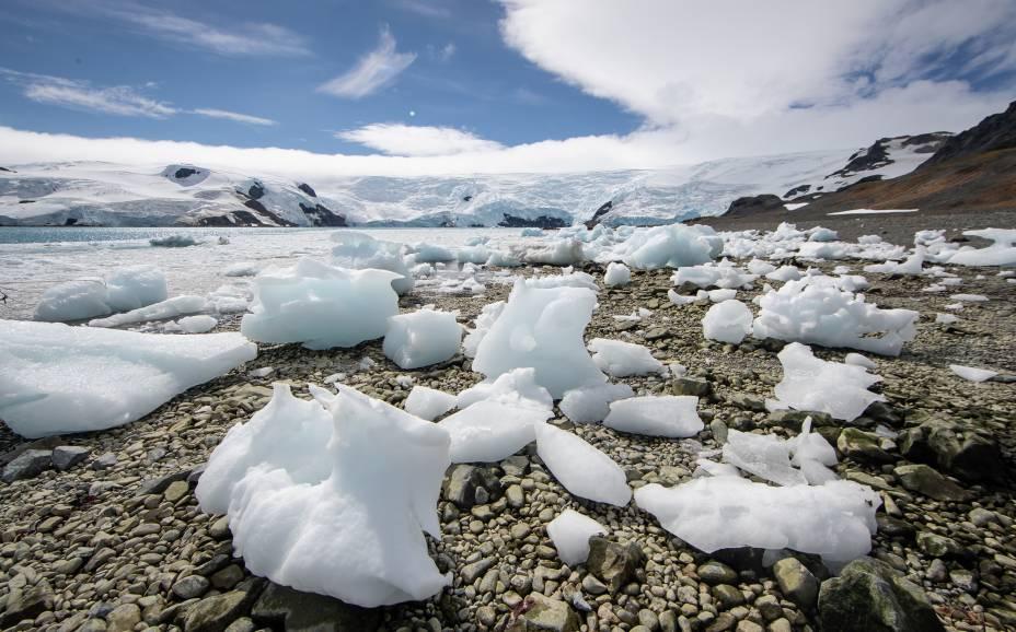 Praia encoberta por pedaços de gelo