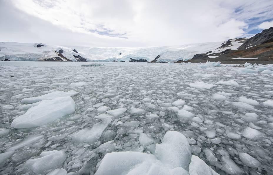 Em locais próximos às geleiras, o mar fica coberto de pedaços de gelo