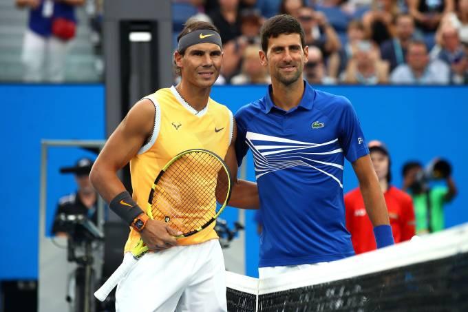 Rafael Nadal e Novak Djokovic durante o Aberto da Austrália de 2019