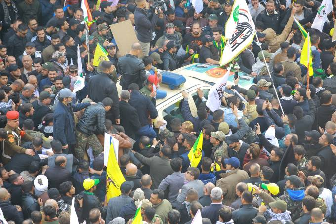 Funeral of a top Iranian general and Iraqi militiamen in Baghdad