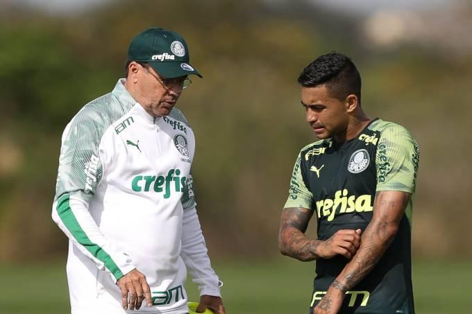 Vanderlei Luxemburgo e Dudu, do Palmeiras, em treino da Florida Cup 2020