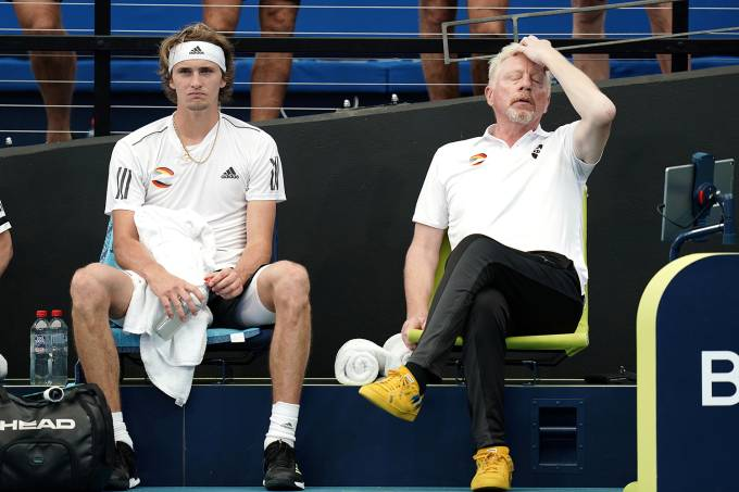 Alexander Zverev of Germany is dejected as team captain Boris Becker reacts during Zverev's singles match against Denis Shapovalov of Canada during day 5 of the ATP Cup tennis tournament at Pat Rafter Arena in Brisbane